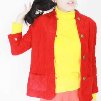 vtg QUILTED cropped sweater red button down sweater medium med m
