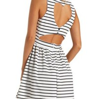 Heart Cut-Out Striped Babydoll Dress by Charlotte Russe - White Combo