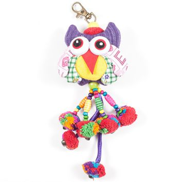 Purple Owl Zipper Pull With Pom-Poms (Thailand)