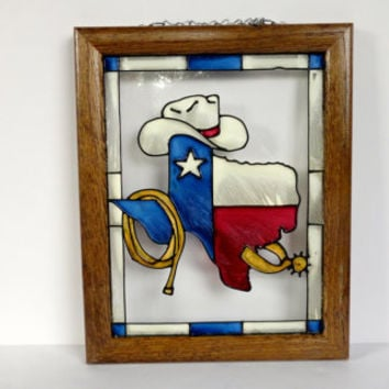 Stained Glass Texas Picture in Wooden Frame
