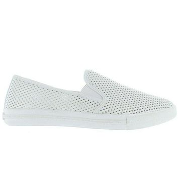 Steve Madden Virgoo   White Perforated Athleisure Loafer
