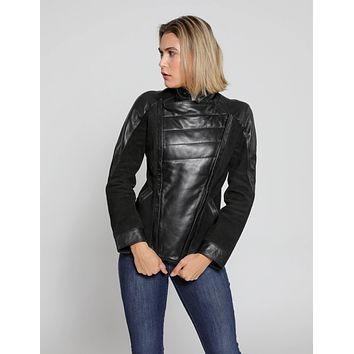 Womens Cosette Dual Panel Leather & Suede Jacket