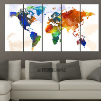 Art WORLD MAP Canvas Print - Wall Art Worldmap - Watercolor World Map 5 Piece Canvas Art Print - Ready to Hang - Colorful World Map