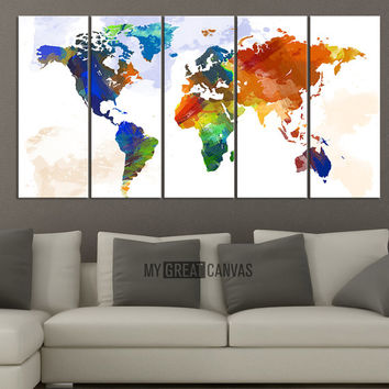 Art world map canvas print wall art from edecorshop on etsy art world map canvas print wall art worldmap watercolor world map 5 piece canvas a gumiabroncs Image collections