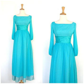 Vintage Blue Party Dress / 70s dress / Alice in Wonderland dress / maxi / bridal / fitted waist / Lorrie Deb /  Small