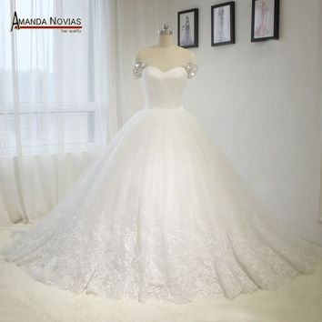 Newest Puffy Ball Gown Wedding Dress With Cap Beading Sleeves Dress