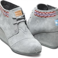 Grey Embroidered Desert Wedges