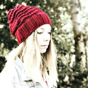 Slouchy Beanie Hat - Red - Hand Knitted Vegan Hat - Woman's Hat -Teen Girl Hat