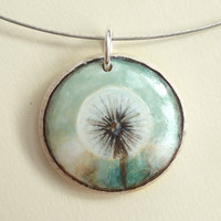 Dandelion Necklace -  Hand Painted Jewelry with Miniature Painting -  Art Wood Necklace