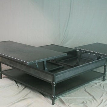 Double Lift Top Coffee Table. Adjustable Height Coffee Table. Industrial Style. Steel. Distressed Metal Furniture. Reclaimed Wood Available.