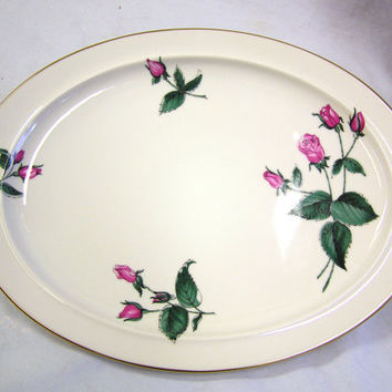 "Vtg 50s Serving Platter Plate Dish 14"" Easterling Bavarian China RADIANCE White Pink Roses Green Leaves Gold"