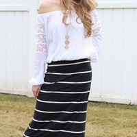 Black & White Striped Maxi Skirt