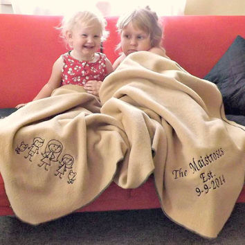 Personalized Throw Blanket - Fleece Couch Blanket - Family Stick Figures