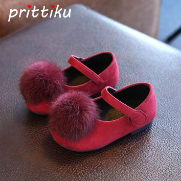Baby Toddler Girl Mary Jane Flats Little Kid Ankle Strap Coral Velvet Ball Pom Pom Leisure Loafers Children Fashion School Shoes