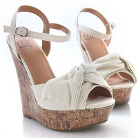 Bowtie Pale Beige Tall Platform Wedge Sandal Ankle Strap Women Delicious Shoe