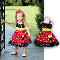 Toddler Girl Sleeveless Minnie Dress Summer Baby Girls Cartoon Mouse Chiffon Dresses -  enfant Children's Clothing D3454
