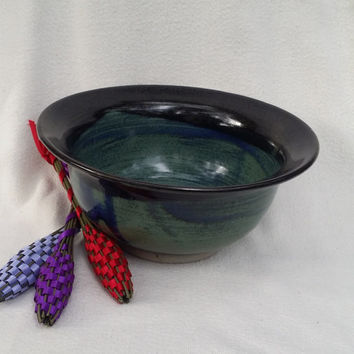 OOAK Mixing Bowl Medium Dark Blue With Black Rim Wheel Thrown