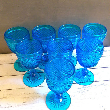 Turquoise Depression Glass Goblets/ Set of 8 Vintage Hobnail Turquoise Goblets/ Depression Glass Goblets/ Imperial Blue Depression Glass