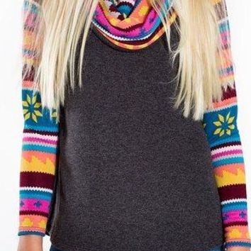 Tween Colorful Winter Cowl Neck Long Sleeve Top