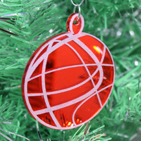 Ball Christmas Ornament Red Mirrored Acrylic