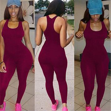 Solid Spaghetti Straps Sleeveless Bodycon Casual Bodysuit 2018 Autumn Women Fashion Sportswear Playsuits Sale Overall Discount 50-70% Rompers