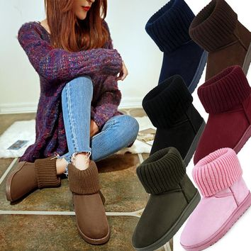 LALA IKAI women classic snow boots Knitting Wool cuff Patchwork Female ug Australian Warm Plush furry cotton Flat shoes XWN0926