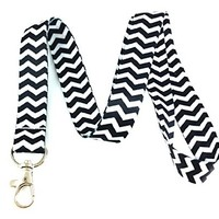 Black Chevron Lanyard Key Chain Id Badge Holder