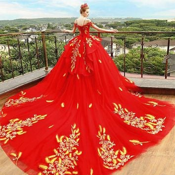Luxury Red Pregnancy Maternity Wedding Dresses Flower Long Train Court Gown Custom