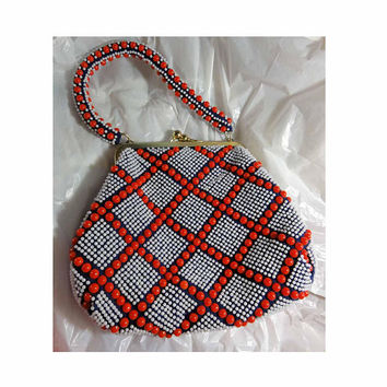Vintage 50s Purse Red White and Blue Beaded Handbag Lucite Plastic Beads Regal Label