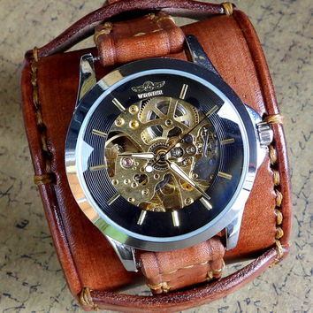 Watch Cuff, Steampunk Leather Watch Cuff, Men's watch, Leather Wrist Watch, Leather Cuff, Bracelet Watch, Middle brown