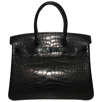 Brand New Hermes Birkin 30 So Black Croc Black Hardware