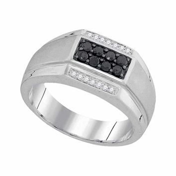 10kt White Gold Men's Round Black Color Enhanced Diamond Rectangle Cluster Ring 3/8 Cttw - FREE Shipping (US/CAN)