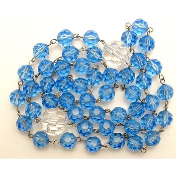 Blue & Clear Crystal Bead Necklace Vintage 31""