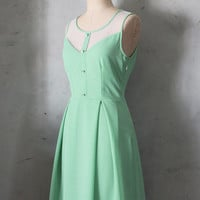 PETIT JARDIN  SAGE Mint green dress with white by FleetCollection