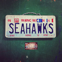 Seahawks. Seattle. License plate . Man . Sports. Giftidea. Man. Football. Blue. Green. Sign