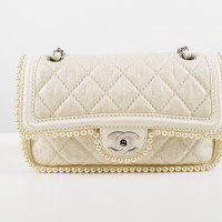 New Cream Fabric Quilted Bag with Pearls