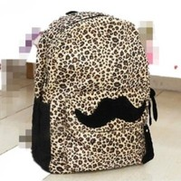 Generic Hot Travel Girl lady Mustache Canvas Leopard School Book Campus Bag Backpack
