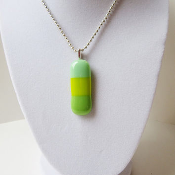 Springtime Pendant, Fused Glass Necklace, Statement Necklace, Pastel Colored Jewelry, Pastel Green Fused Glass Pendant, Color block style
