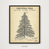 Christmas Tree Patent, Digital Download, Christmas Wall Decor, Party Decorations, Christmas Prints, Retro X'mas Blueprint, Kids Room Decor