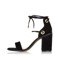 Black tie-up block heel sandals - high heels - shoes / boots - women