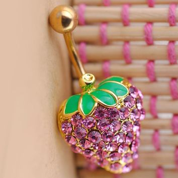 Korean Diamonds Strawberry Accessory Belly Ring [6768795399]