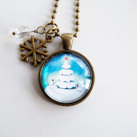 Christmas Tree Necklace - Christmas Jewelry - Winter Tree Holiday Pendant - Holiday Gift - Christmas Necklace - Winter Scene Snow Forest