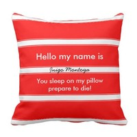 Funny Hello my name is... Red white stripe Pillow