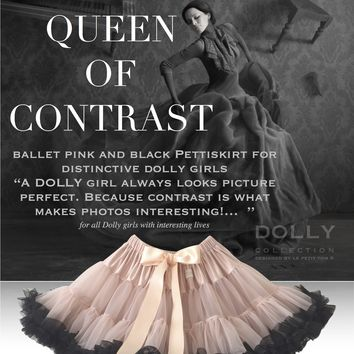 DOLLY by Le Petit Tom ® QUEEN OF CONTRAST pettiskirt ballet pink with black