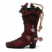 Cowboy Boot Ornament Christmas Plaster Gift Cowgirl Figurine Western Xmas Decor Collectible Christmas Ornament Cowboy Boot Yard Ornament