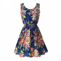 Vintage Floral Casual Mini Sleeveless Dress