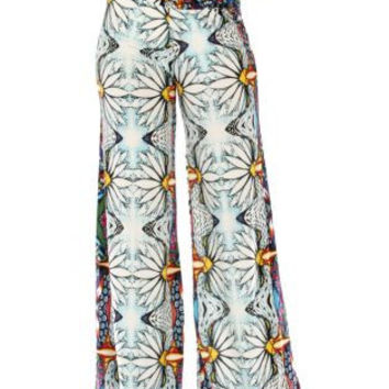 Wide Waistband Large Flower Aztec Palazzo Pants