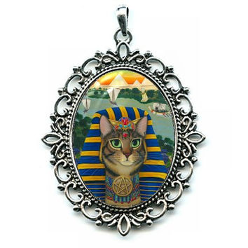 Egyptian Pharaoh Cat Necklace Egypt Bastet King of Pentacles Cat Cameo Pendant 40x30mm Gift for Cat Lovers Jewelry