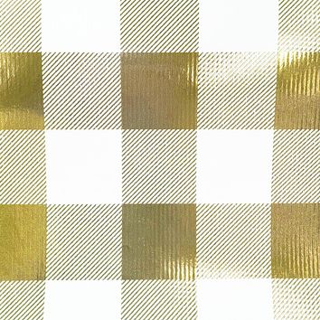 Bulk Ream Roll Gold Foil Gift Wrap Wrapping Paper, Classy Plaid