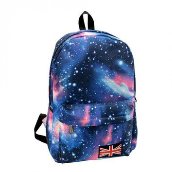 2016 Fashion School Bags For Teenagers Stars Sky Universe Space Printing Backpack School Book Backpacks British Flag Bag Mochila